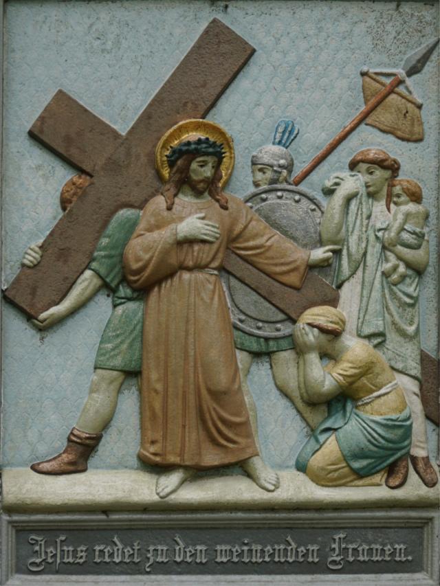 Jesus redet zu den weinenden Frauen.